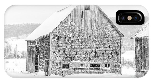 New England Barn iPhone Case - Old Grantham Barns Winter by Edward Fielding