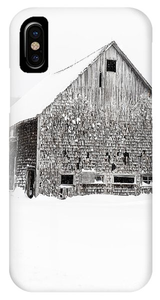 New England Barn iPhone Case - Old Gray Barn In A Snow Storm Grantham Nh by Edward Fielding