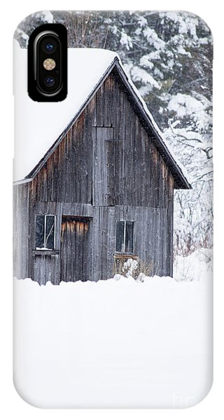 New England Barn iPhone Case - Old Gray Barn In The Snow Etna New Hampshire by Edward Fielding