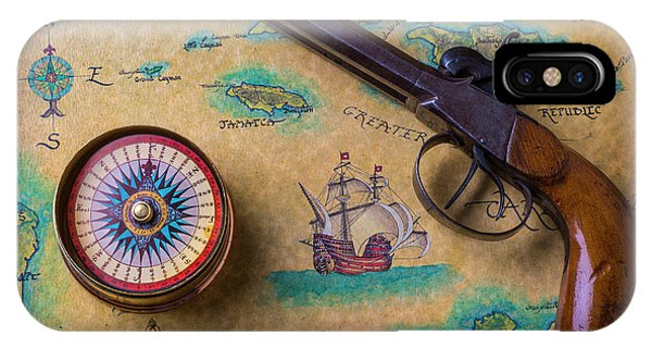 Navigation iPhone Case - Old Gun And Compass On Map by Garry Gay