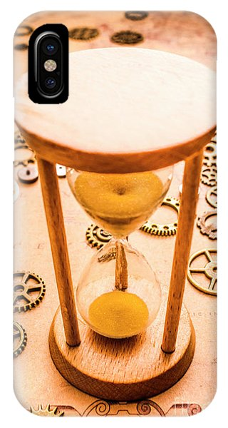 Technical iPhone Case - Old Hourglass Near Clock Gears On Old Map by Jorgo Photography - Wall Art Gallery