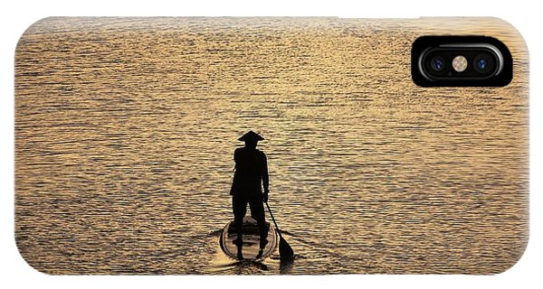 Old Man Paddling Into The Sunset IPhone Case