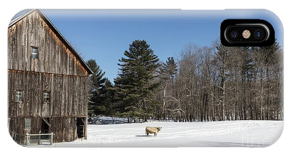 New England Barn iPhone Case - Old New England Barn And Cow In Winter by Edward Fielding