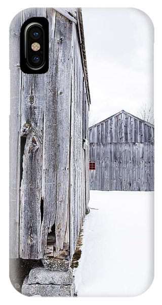 IPhone Case featuring the photograph Old New England Barns Winter by Edward Fielding