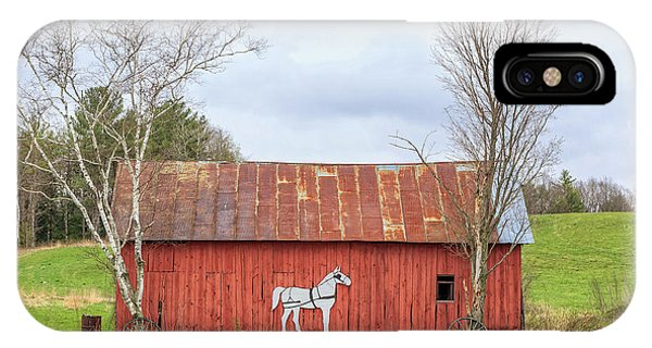 New England Barn iPhone Case - Old New England Red Horse Barn by Edward Fielding