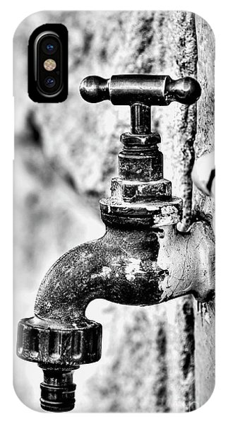 Old Outdoor Tap - Black And White IPhone Case