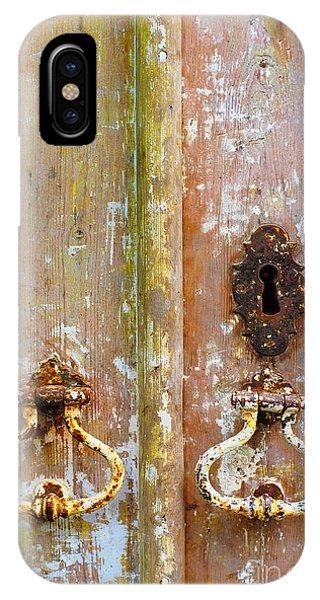 Ironwork iPhone Case - Old Peeling Door by Carlos Caetano