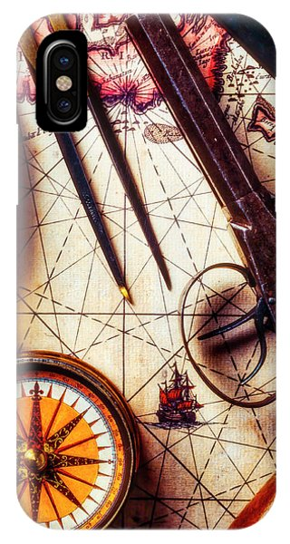 Navigation iPhone Case - Old Pistol With Compass On Map by Garry Gay