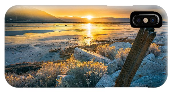 City Sunset iPhone Case - Old Post At The Great Salt Lake by James Udall