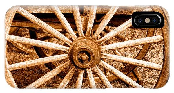 Wagon Wheel iPhone Case - Old Prairie Schooner Wheel - Sepia by Olivier Le Queinec
