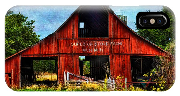 Old Red Barn And Wild Sunflowers IPhone Case