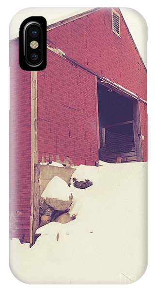 New England Barn iPhone Case - Old Red Barn In Winter by Edward Fielding