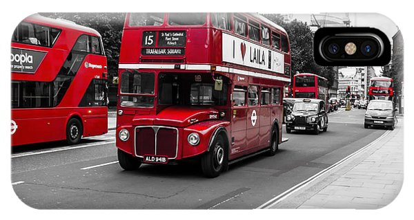 Old Red Bus Bw IPhone Case