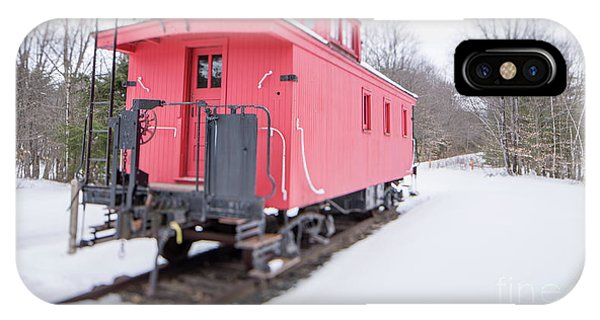 Red Caboose iPhone Case - Old Red Caboose In Winter Tilt Shift by Edward Fielding