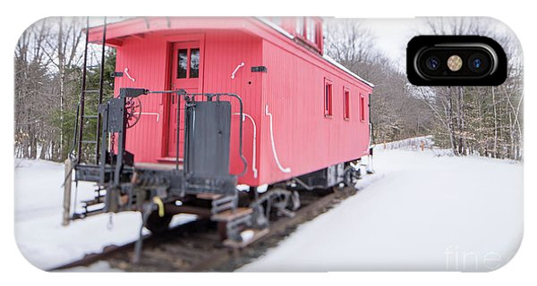 IPhone Case featuring the photograph Old Red Caboose In Winter Tilt Shift by Edward Fielding