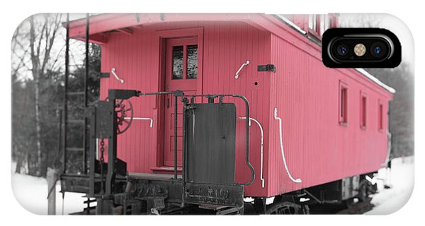 Red Caboose iPhone Case - Old Red Caboose Square by Edward Fielding