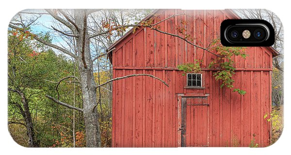 New England Barn iPhone Case - Old Red New England Barn Building Woodstock Vermont by Edward Fielding