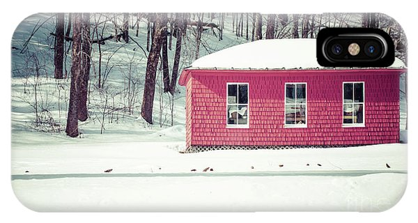 New England Barn iPhone Case - Old Red Shed In The Snow by Edward Fielding