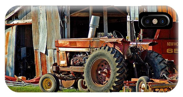 Old Red Tractor And The Barn IPhone Case