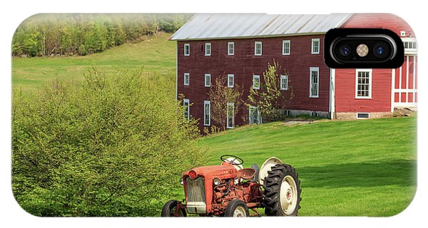 New England Barn iPhone Case - Old Red Vintage Ford Tractor On A Farm In Enfield Nh by Edward Fielding