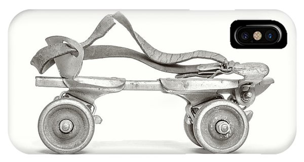 IPhone Case featuring the photograph Old Rollerskate Black And White by Edward Fielding
