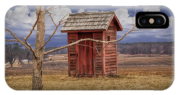 Toilet iPhone Case - Old Rustic Wooden Outhouse In West Michigan by Randall Nyhof