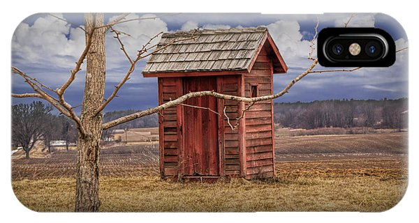 Old Rustic Wooden Outhouse In West Michigan IPhone Case