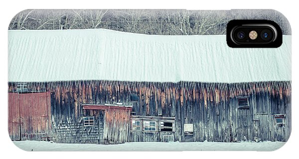 New England Barn iPhone Case - Old Sagging Barn In Winter by Edward Fielding