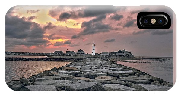 Old Scituate Light At The End Of The Jetty IPhone Case