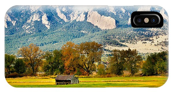 old shed against Flatirons IPhone Case