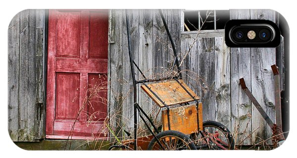 Old Shed Red Door And Pony Cart IPhone Case