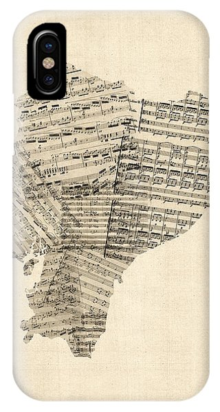 South America iPhone Case - Old Sheet Music Map Of Ecuador Map by Michael Tompsett