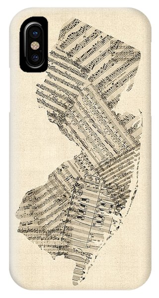 Old Sheet Music Map Of New Jersey IPhone Case