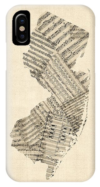 New Jersey iPhone Case - Old Sheet Music Map Of New Jersey by Michael Tompsett