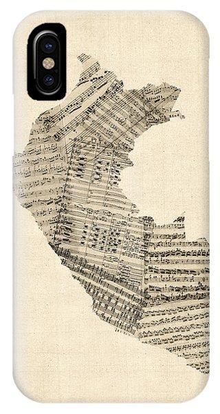 Peru iPhone Case - Old Sheet Music Map Of Peru Map by Michael Tompsett