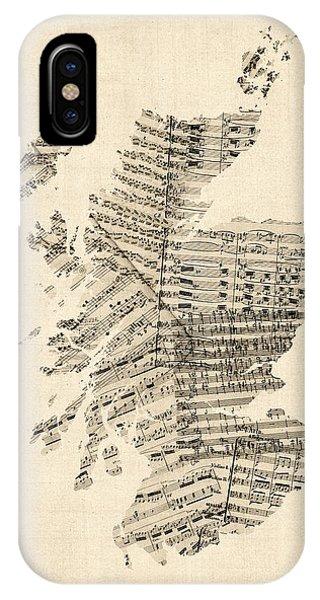 Scotland iPhone Case - Old Sheet Music Map Of Scotland by Michael Tompsett