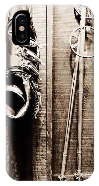 Old Ski Boot And Pole IPhone Case
