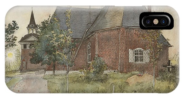 Swedish Painters iPhone Case - Old Sundborn Church. From A Home by Carl Larsson