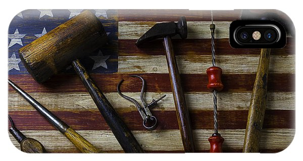 Old Tools On Wooden Flag IPhone Case