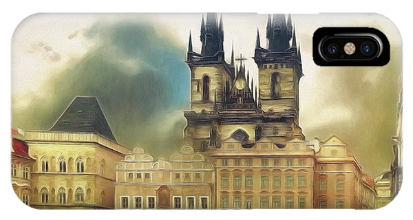 Old Town Square Prague In The Rain IPhone Case