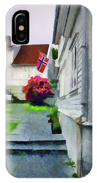 Rainy Day iPhone Case - Old Town Stavanger - Painterly by Susan Lafleur