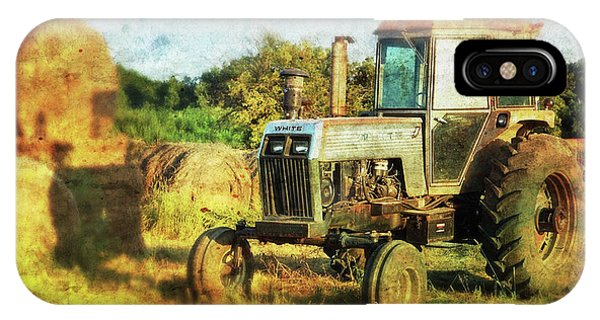 IPhone Case featuring the photograph Old Tractor And Hay Rolls by Anna Louise