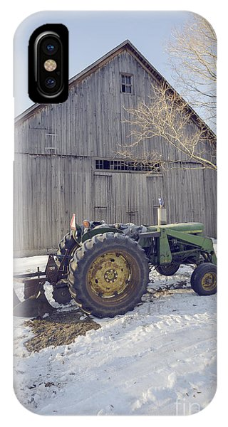 Etna iPhone Case - Old Tractor By The Barn Winter Etna by Edward Fielding