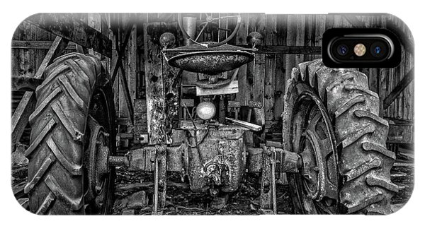 New England Barn iPhone Case - Old Tractor In The Barn Black And White by Edward Fielding