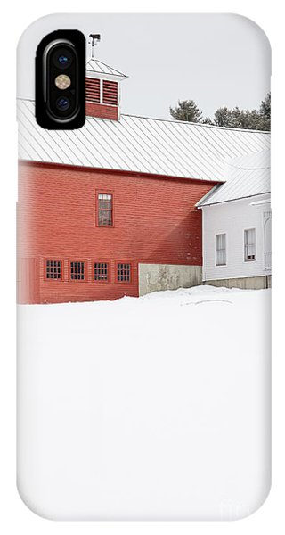 New England Barn iPhone Case - Old Traditional New England Farm In Winter by Edward Fielding