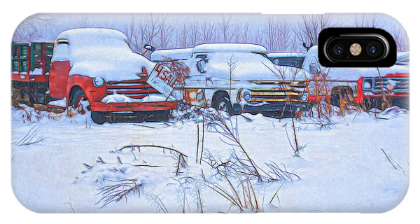 Old Trucks In Snow IPhone Case