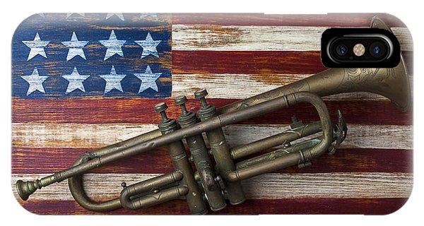 Landmark iPhone Case - Old Trumpet On American Flag by Garry Gay