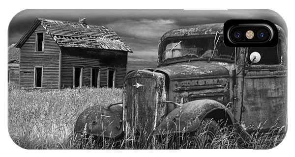 Old Vintage Pickup In Black And White By An Abandoned Farm House IPhone Case