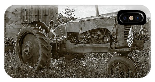 New England Barn iPhone Case - Old Vintage Tractor Hopkinton New Hampshire by Edward Fielding