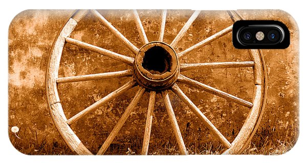 Wagon Wheel iPhone Case - Old Wagon Wheel - Sepia by Olivier Le Queinec